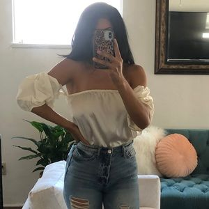 FOREVER 21 faux silk tube top with puffy sleeves